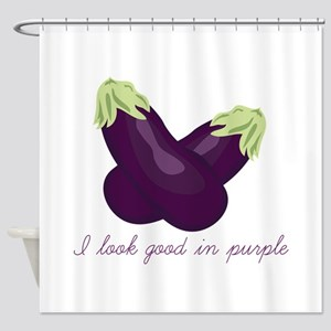 Purple Veggie Shower Curtain