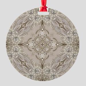 glamorous girly Rhinestone lace pea Round Ornament