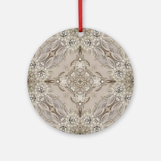 glamorous girly Rhinestone lace p Ornament (Round)