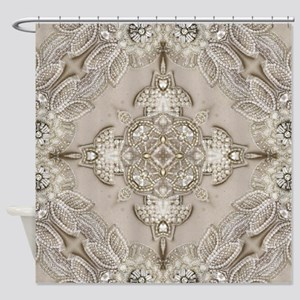 glamorous girly Rhinestone lace pea Shower Curtain