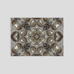 girly vintage pearl diamond glamoro 5'x7'Area Rug