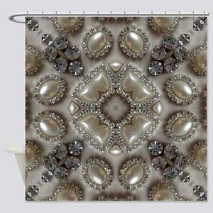 girly vintage pearl diamond glamoro Shower Curtain
