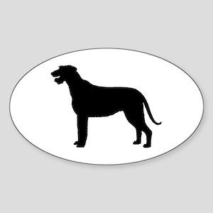 Irish Wolfhound Silhouette Oval Sticker