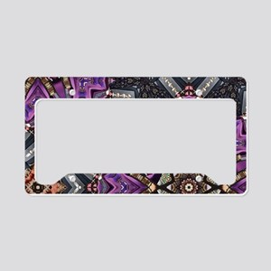 abstract purple gold bling gl License Plate Holder
