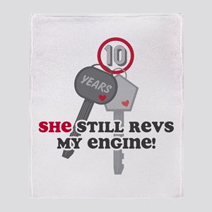 She Revs My Engine 10 Throw Blanket