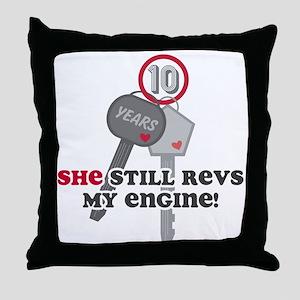 She Revs My Engine 10 Throw Pillow