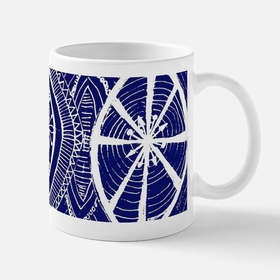 Indigo Blue Rustic Tangle Art Mugs
