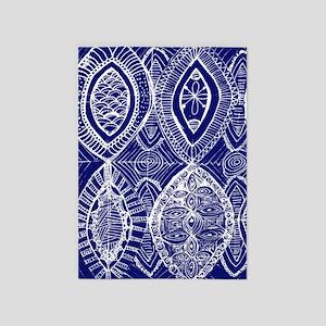 Indigo Blue Rustic Tangle Art 5'x7'Area Rug
