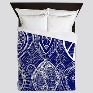Indigo Blue Rustic Tangle Art Queen Duvet