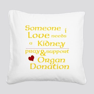 Personalize Organ Donation Square Canvas Pillow