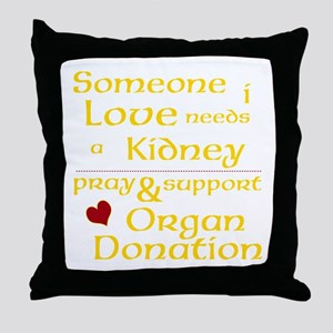 Personalize Organ Donation Throw Pillow