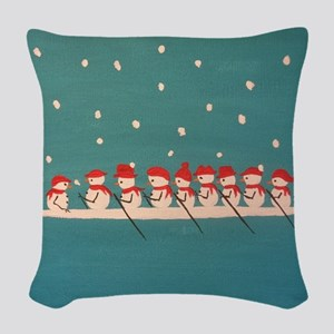 rowing snowmen Woven Throw Pillow