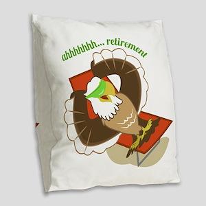 Retirement Eagle Burlap Throw Pillow