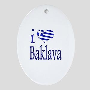 I Love Baklava Oval Ornament