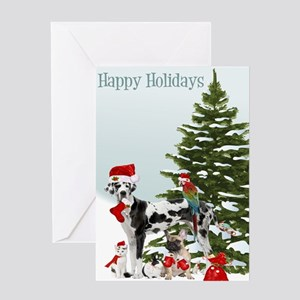 Santa Pets Christmas Card Greeting Cards