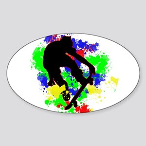 Graffiti Paint Splotches Skateboarder Sticker