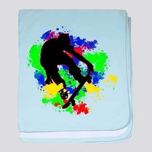 Graffiti Paint Splotches Skateboarder baby blanket