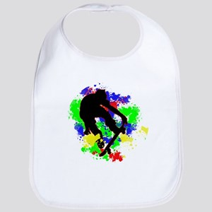 Graffiti Paint Splotches Skateboarder Bib