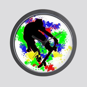 Graffiti Paint Splotches Skateboarder Wall Clock