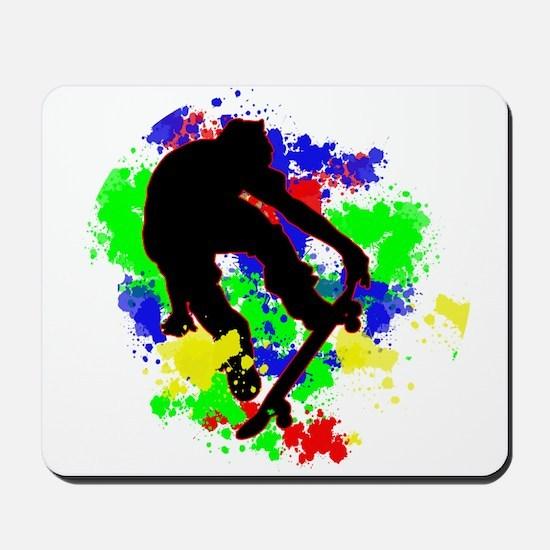 Graffiti Paint Splotches Skateboarder Mousepad