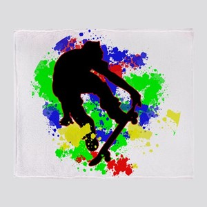 Graffiti Paint Splotches Skateboarde Throw Blanket