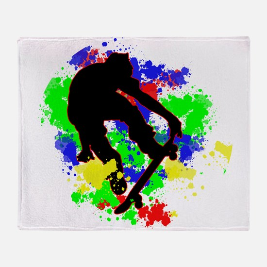 Graffiti Paint Splotches Skateboarde Throw Blanket