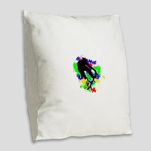 Graffiti Paint Splotches Skate Burlap Throw Pillow