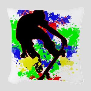 Graffiti Paint Splotches Skate Woven Throw Pillow