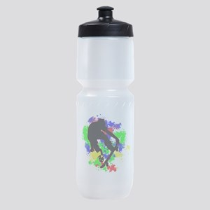 Graffiti Paint Splotches Skateboarde Sports Bottle