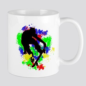 Graffiti Paint Splotches Skateboarder Mugs