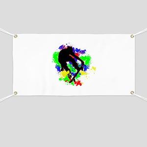 Graffiti Paint Splotches Skateboarder Banner