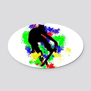 Graffiti Paint Splotches Skateboar Oval Car Magnet