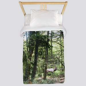 Moose And Chipmunk In The Forest Twin Duvet Cover