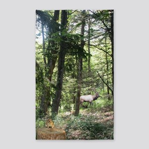 Moose And Chipmunk In The Forest Area Rug