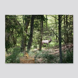 Moose And Chipmunk In The Forest 5'x7'Area Rug