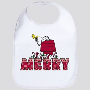 Snoopy Merry Cotton Baby Bib