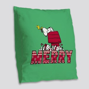 Snoopy Merry Burlap Throw Pillow