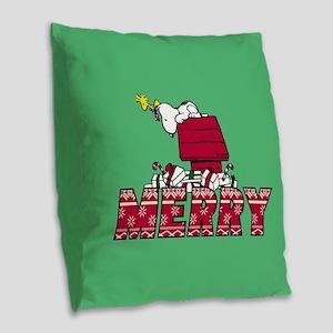 Snoopy Merry Burlap Throw Pillow