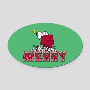 Snoopy Merry Oval Car Magnet