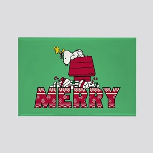 Snoopy Merry Rectangle Magnet