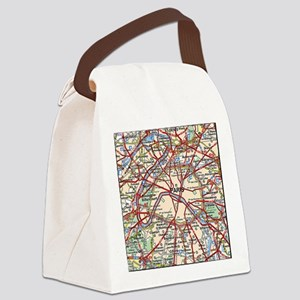 Map of Paris France Canvas Lunch Bag