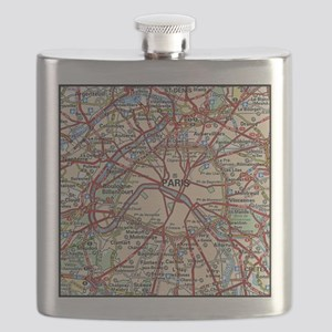 Map of Paris France Flask