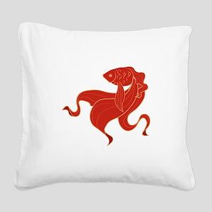 Oriental Koi Square Canvas Pillow