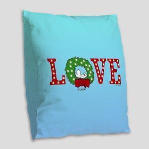 Snoopy Holiday Love Burlap Throw Pillow