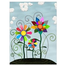 Whimsical Flowers Wall Art Poster