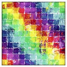 Geometric Squares Watercolor Wall Art Poster