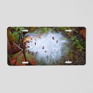 Milkweed Pod Burst Aluminum License Plate