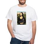 Mona Lisa/Dachshund (BT4) White T-Shirt