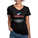 Republican Wmns V-Neck Dk Tee