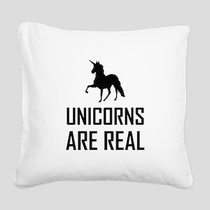 Unicorns Are Real Fantasy Square Canvas Pillow